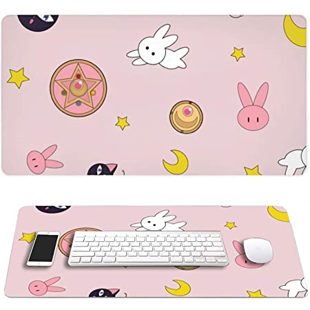 Lamgo Sailor Moon Rectangle Anime Non Slip Rubber Mousepad Mouse Pads/Mouse Mats Case Cover with Designs for Office Home Woman Man 30x15.7 Inch(75x40 cm)