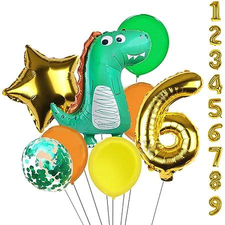 Dinosaur party decor 1st birthday party Dinosaur party 5 Dinosaur Green And Blue Confetti Balloons Dinosaur Party Decorations