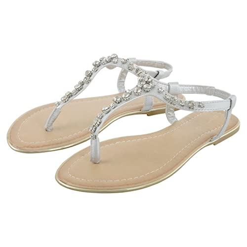 5618eadfc Pia Rossini Womens Summer Sandals Flat Chianti Beach Holiday Shoes Ladies  Diamante Strappy Slip On Elastic