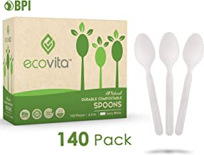 100% Compostable Spoons - 140 Large Disposable Utensils (6.5 in.) Eco Friendly Durable and Heat Resistant Alternative to P...