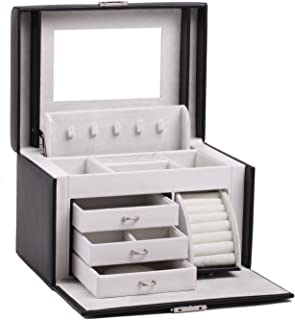 Black White Girls Jewellery Gift Box Rings Necklace Storage Organizer Lockable 44 (Black)