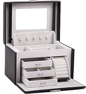 Black White Girls Jewellery Gift Box Rings Necklace Storage Organizer Lockable 44 (Black)