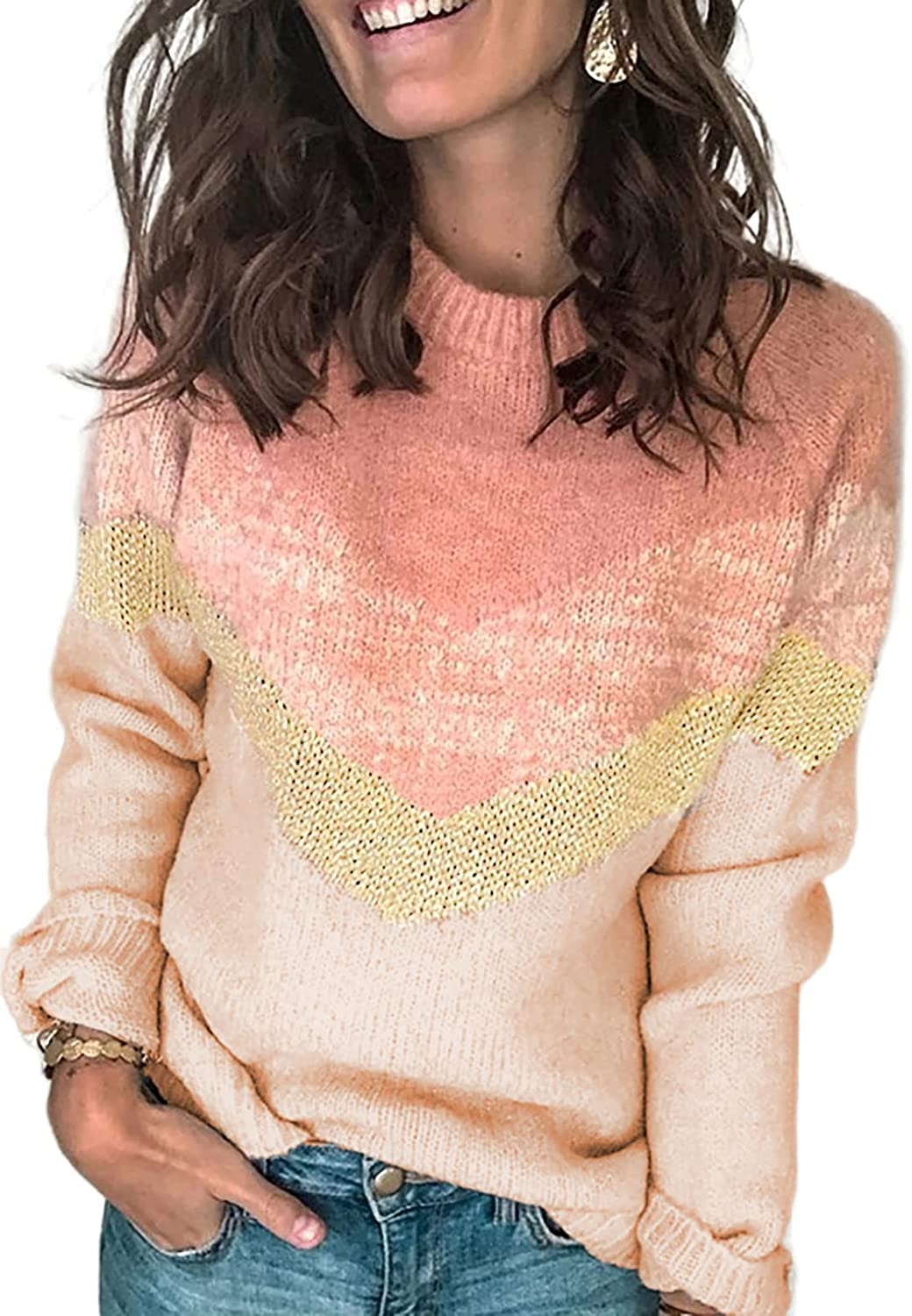HOTAPEI Women Crewneck Long Sleeve Pullover Sweaters Casual Striped Color Block Knit Jumper Tops