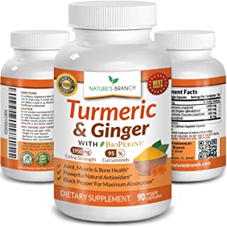Extra Strength Turmeric Curcumin with Ginger & BioPerine - 1950mg Joint Pain Relief Supplement for Inflammation with Black...