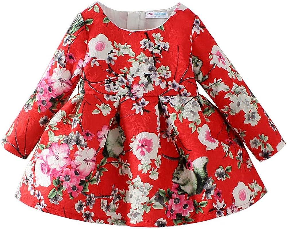 Mud Kingdom Jacquard Peach blossom Baby Girls' Long Sleeve Dresses Flower Red 12M/Height 29.5-33.5 inch