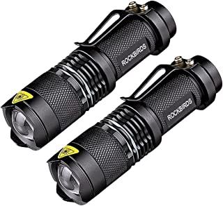 2 Pack Flashlights, ROCKBIRDS LED Flashlight with Belt Clip, Fluorescent Ring, Zoomable,..