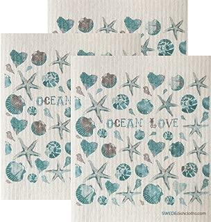 SWEDEdishcloths Ocean Love Set of 3 Each Swedish Dishcloths | ECO Friendly Absorbent Cleaning Cloth | Reusable Cleaning Wipes | Swedish Dish Cloths
