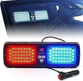 Xprite Red Blue 86 LED SunShield Sun Visor Emergency Strobe Lights 12 Flash Modes Hazard Police Warning Light for Law Enfo...