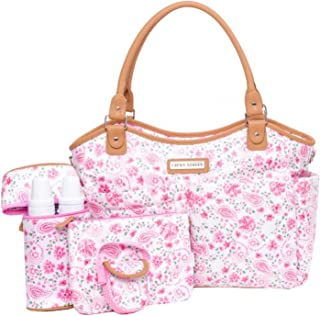 Laura Ashley 6 Piece Large Triple Compartment Tote Diaper Bag - Pink Floral (Pink Floral)