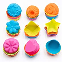 To encounter Silicone Cupcake Baking Cups 36 Pack Non Stick Cake Molds Sets 9 Shapes Silicone Muffin Pan for Baking Silico...