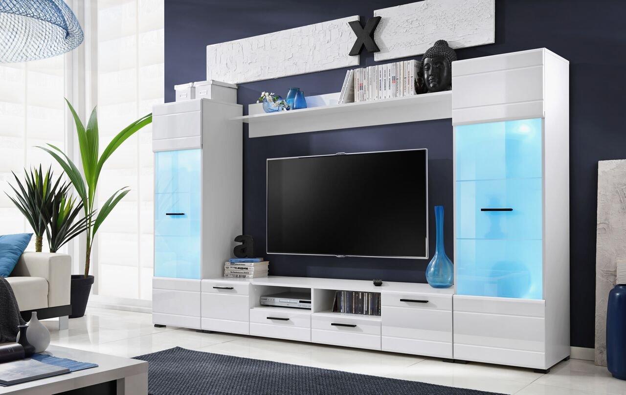 Juego de muebles de sala de estar, moderno, Unidad de pared incluida, unidad para TV, en color blanco brillante, se vende por Arthauss: Amazon.es: Hogar