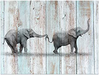 Visual Art Decor Black and White Elephant Canvas Prints Wall Decor Wood Background Canvas Prints Wall Art (24