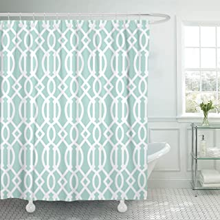 Accrocn Waterproof Shower Curtain Curtains Fabric Mint Green and White Geometric Pattern Decor Extra Long 72x84 Inches Decorative Bathroom Odorless Eco Friendly