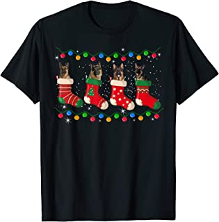 German Shepherd Stocking Christmas Lights Funny Socks Xmas T-Shirt