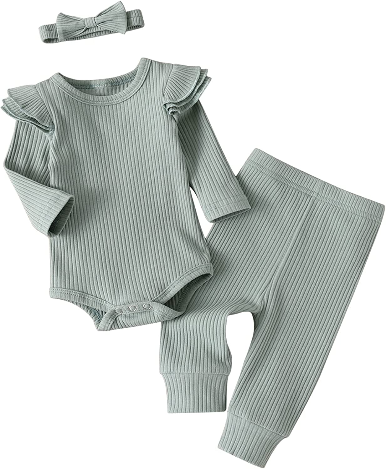 Newborn Infant Baby Girl Clothes Ribbed Sleeve Color Long High material Max 58% OFF Solid