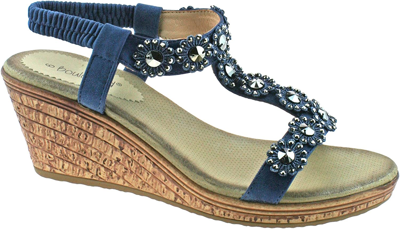 Cipriata Flower Trim Womens Halter Back Wedge Sandals