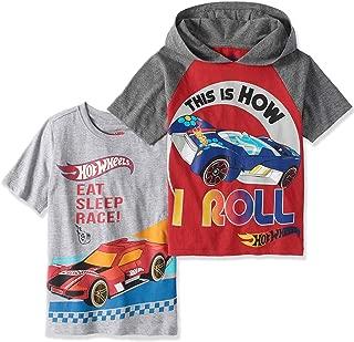 Hot Wheels Boys T-Shirts - 2 Pack of Shirts Boys 'How I Roll Hooded Shirt & 'Eat, Sleep, Race' T-Shirt