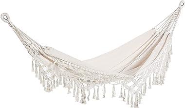 Outsunny Hamac de Voyage Portable Style bohème Chic Toile de hamac dim. totales 2,88L x 1,5l m Coton Polyester Beige