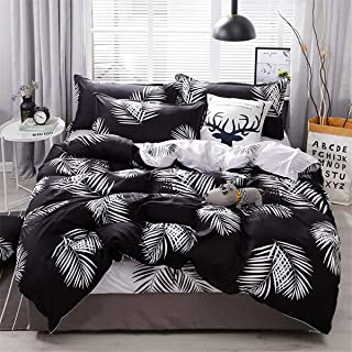 Guidear Black White Leaves Duvet Cover Set for Kids Adults AB Version Reversible Leaf Bedding Set with 2 Pillowcases 3 Pieces Soft Microfiber Comforter Cover Queen 90