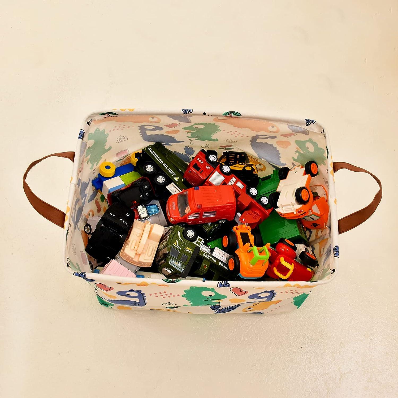 "Small Storage Basket Kids Toy Storage Bins Waterproof Canvas Laundry Basket Clothes Dinosaur Pattern Hamper Storage with Handles for Toy Books Holder,Baby Hamper,Home Decoration,Kids Room (Orange, 10.2""x 10.2""x 14.9"")"
