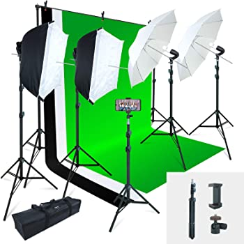 Linco Lincostore Photo Video Studio Light Kit AM169 - Including 3 Color Backdrops (Black/White/Green) Background Screen