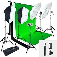 Linco Lincostore Photo Studio Studio Light Kit AM169 - از جمله 3 رنگ پس زمینه (سیاه / سفید / سبز) صفحه پس زمینه