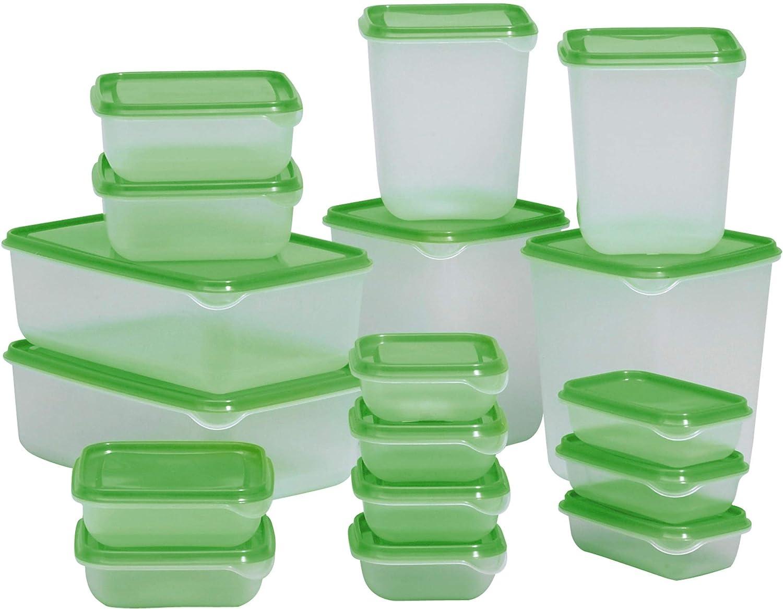 per frigo e congelatore Green Ikea Pruta Set di contenitori per alimenti base 17/pezzi in plastica resistente