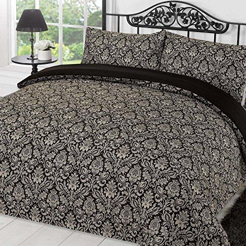 Dreamscene Duvet Cover with Pillow Case Bedding Set Sanctuary Damask, Black Grey-King, Polyester