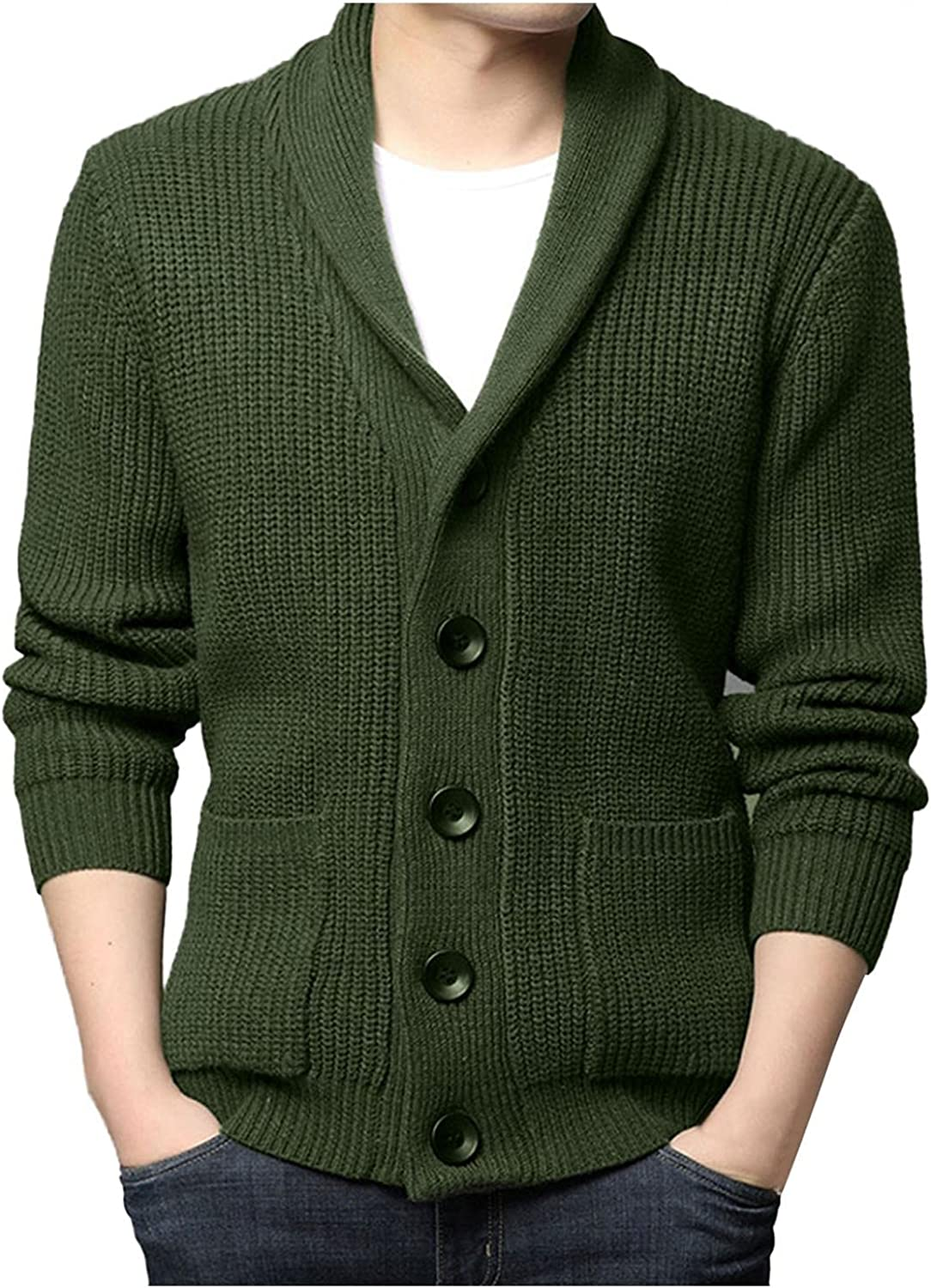 Men Knitted Cardigan Sweater Long Sleeve Shawl Collar Button Down Sweatershirt Casual Loose Thermal Wool Top Blouse