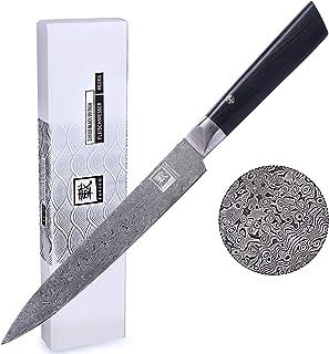 zayiko Black Edition Damastmesser Fleischmesser 20,70 cm Klinge extrem scharf aus 67 Lagen I Damast Küchenmesser und Profi Kochmesser aus echtem japanischen Damaststahl mit Pakkaholzgriff