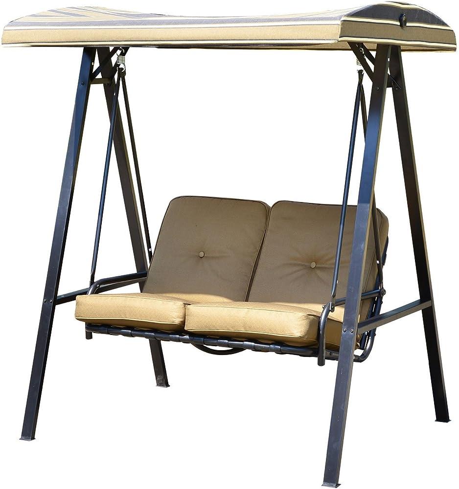 Outsunny sedia a dondolo da giardino a 2 posti con tetto regolabile struttura in acciaio IT01-08910631