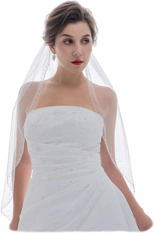 SAMKY 1T 1 Tier Wavy Pearl Beaded Edge Bridal Wedding Veil