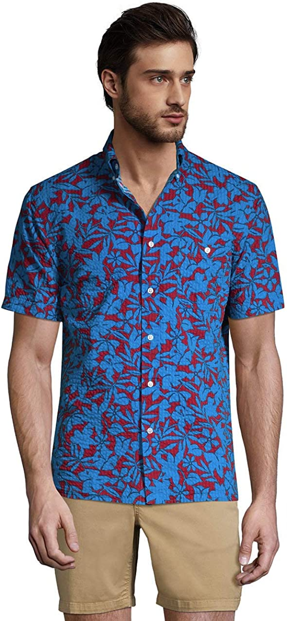 Lands' End Men's Traditional Fit Short Sleeve Seersucker Shirt