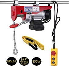 LIMICAR Electric Hoist 880LBS Overhead Lift Electric Hoist Crane Garage Ceiling Pulley Winch Remote Control Power System with Premium Straps 6.6'x3