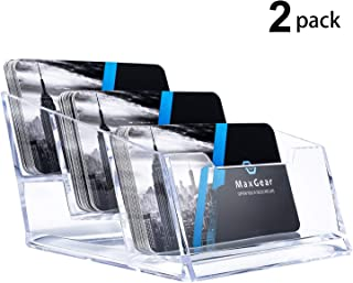 MaxGear Acrylic Business Card Holder for Desk 3 Pocket Clear Business Card Stand Display with 180 Card Capacity, 2 Pack