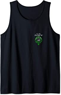 Clan Agnew Tartan Crest Design on Back and Left Chest Tank Top
