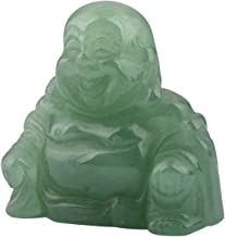 mookaitedecor Green Aventurine Happy Buddha Crystal Figurine Carved Statue Pocket Stone Home Decoration 1.5 inch