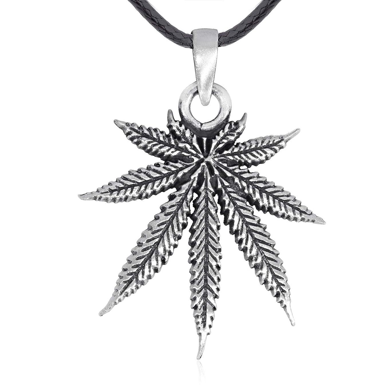 警告するトライアスリート沿ってNamaste Jewelers マリファナ大麻葉ペンダントネックレス ピュータージュエリー