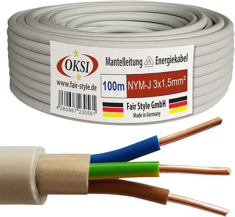 Cable de Cobre OKSI NYM-J 5 m, 5 x 6,0 mm/², Fabricado en Alemania