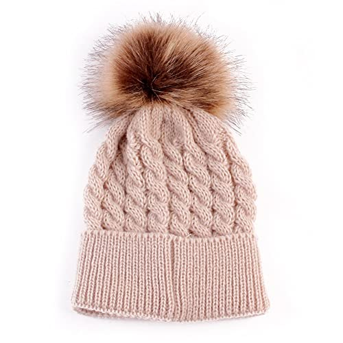 9eb53112d3b Emmababy Baby Boys Girls Winter Knit Beanie Parent-Child Raccoon Fur Pom  Bobble Hat Family