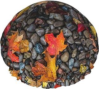 Liście kamienie klon mokra jesień wodoodporna czepek prysznicowy z elastycznym obszyciem odwracalna konstrukcja do pryszni...