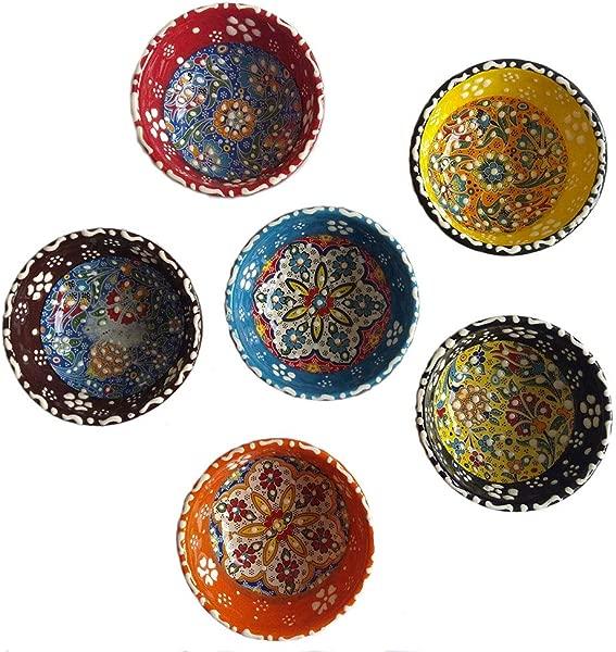 Ayennur Decorative Desing Turkish Ceramic Bowl Set Of 6 Handcrafted Pinch Multicolor Finger Small Serving Bowls