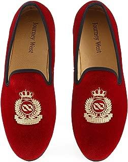 Men's Vintage Velvet Embroidery Noble Loafer Shoes Slip-on Loafer Smoking Slipper Black/Red/Blue
