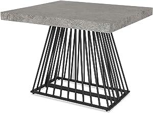 Menzzo Factory Table Extensible, Bois,Métal, Béton Gris, Taille Unique