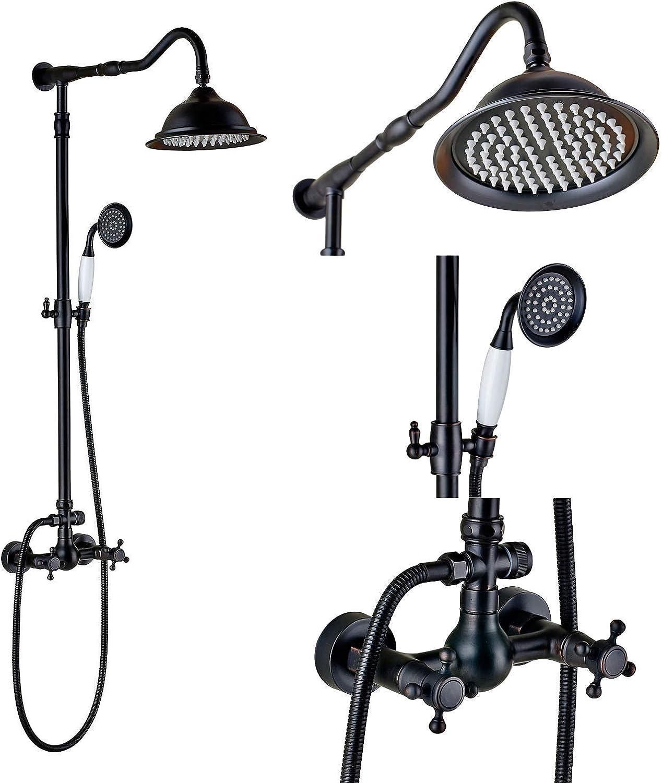 WANGYONGQI Badezimmer-Doppelknopf-Mischer-Duschset 8-Zoll-Regenduschkopf mit Handsprühl rieb Bronze