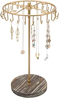 MyGift 14-inch Brass Tone Rotating 24-Hook Jewelry, Necklace & Bracelet Hanger Organizer Display Stand Tower with Rustic T...