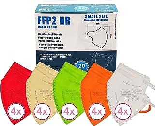 20 FFP2/KN95 Maske Bunt CE Zertifiziert Kleine Größe Small, Medizinische Mask mit 4 Lagige Masken, Staub- und Partikelschu...
