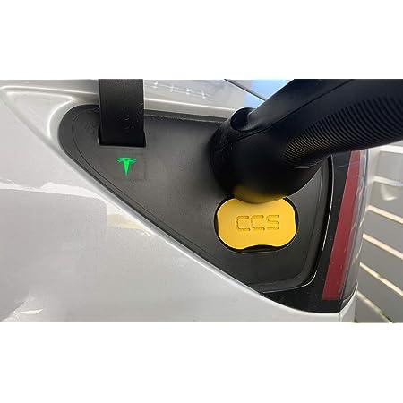 Generisch Ccs Port Abdeckung Kappe Tesla M3 Modelljahr 2019 Logo Gelb Auto