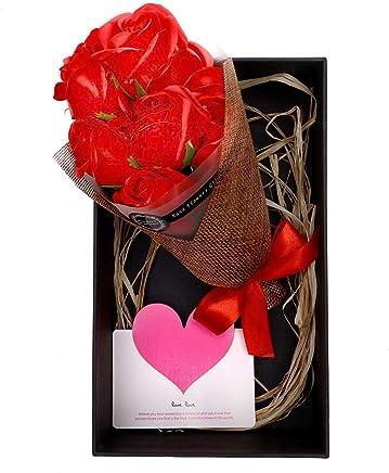 LEEPWEI 枯れない花 ソープフラワー プレゼント ギフト 花束 大切な人 へ 感謝 の 気持ち を 伝える 花束 ( 母の日 ・ バレンタイン ・ ホワイトデー ・ 入学 ・ 卒業 ・ 誕生日 ・ 結婚記念日 など 様々な お祝い の シーン に 最適 )メッセージカード付き (レッド, 7本)