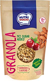 NutriSnacks Cranberries and almonds Granola NO SUGAR ADDED 10.5 oz. With Stevia, Healthy, Natural, 8g Fiber, Prebiotics, W...